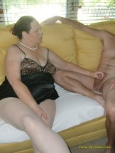 Mature mom in white pantyhose seduced by step son