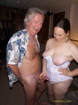 Two mature bi men playing with hairy BBW wife