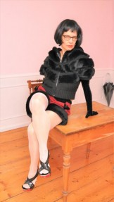 Milf in Furry Shorts, High Heels, Hoodie, Pantyhose