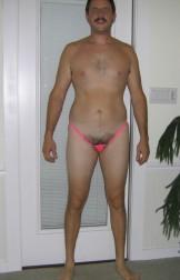 Hairy pink koala thong