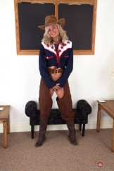Hairy mature Ellen strips off her cowgirl outfit.
