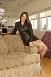 Charisma Cole – Black Leather Jacket & Skirt