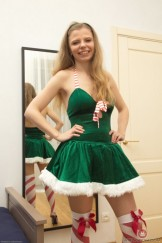 Hairy blond Ekaterina removes her holiday dress.