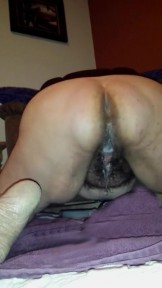 Wife with Fat Hairy Pussy with cumpie
