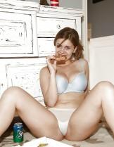 Very sensual girl eats the pizza :-P