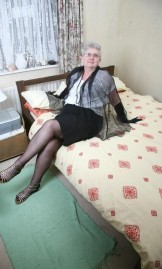Grey Haired Granny in black Stockings