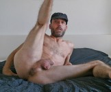 Dude spreading his skinny legs and showing hairy ass