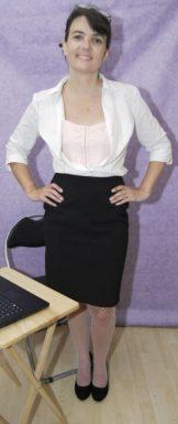 Young – Amateur – Slim burnette office girl strips