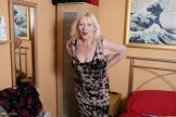 Chubby blond granny Layla pleasures her hairy pussy.