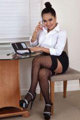 Amy: secretary in polka-dot stockings