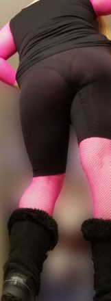 Ms. Evelyn in a Pink Fishnet Bodystocking