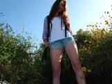 Hairy teen hiking