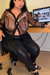Hairy cunt, seethrough blouse, stockings and stripper heels