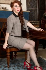 redhead secretary strips to flash hairy muff