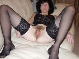 Hairy wife spreading