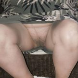 Old GILF Upskirt Tan Tights Hairy Cunt