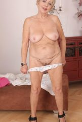 Blond granny Malya showing off her old body and hairy pussy.