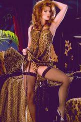 Redhead Julia stocking and heels.