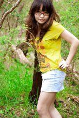 Young – Gita – Nerd Asian slim hairy stripping in woods