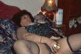 Hairy granny Carmen with hard nipples