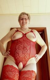 Nice Blond Granny in red Lingerie