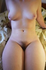 Girlfriend with wide hips and hairy pussy posing