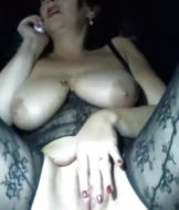 Hairy MILf with big tits and hairy pussy toying