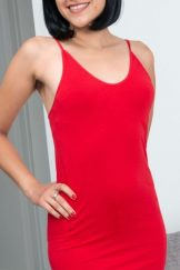 Andy Moon strips off her new red dress today