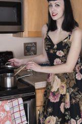 Little Olive masturbates in her brown kitchen