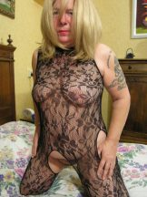 Door Mature Hairy Blonde in Black Transparent Bodysuit