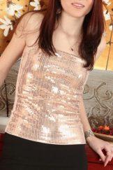 Thelma – Glitter Blouse Black Skirt:: Hairy Redhead